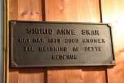 Sigrid Anne Skar, en edel kvinne som ved sitt testamente i 1879 opprettet et legat til reising av et bedehus i Maridalen