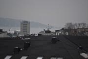 En flokk med Duer slår seg ned på taket der borte
