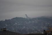 Nå snur vi oss helt om og kan nå se Holmenkollen som vi også tar en nærmere titt på
