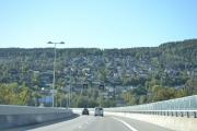 Her er vi på brua over Drammen og tar et oversiktsbilde