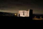 Knut 16 mars 2020 - Kirkeruinen i Maridalen, nå gjelder det å få sluttet gatebelysningen og vente på månen