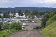 En ganske bratt bakke ned til campingen, her må det bli full fart når vi skal oppover igjen