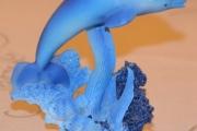 Delfin blå - høyde 13 cm