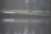 Golfbanen i bakgrunnen og mange flyteknotter i vannet, er det garn som skal fange opp ballene?