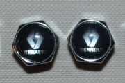 Renault Auto Tyre Stem Air Cover Valve Caps + Wrench Keychain Keyring