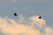 Morten 24 desember 2020 - To militær helikoptre over Høyenhall på juleaften. Hvis det er det, kan det være forsvarets Bell 412 helikoptre