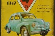 Renault 4CV Metallskilt Nice - Paris