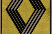 Renault merke håndbrodert i stoff