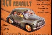 Plaque metal renault 4 cv - 28x22 cm